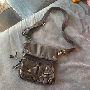 Black leather/ Cloth Crossbody Bag